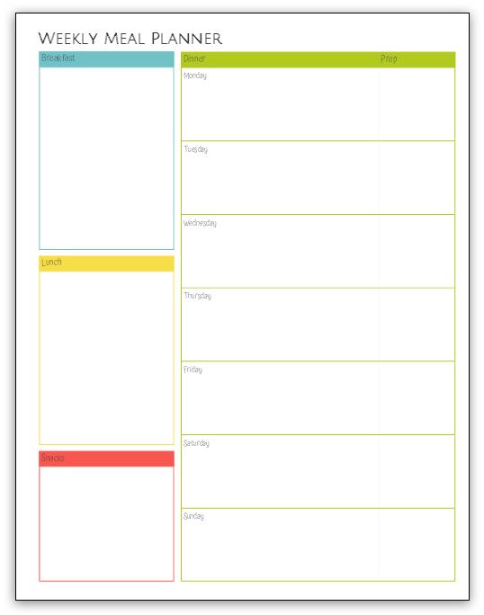 Printable Weekly Meal Planner at LifeInTheNerddom.com