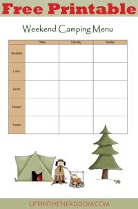 Free Printable Weekend Camping Menu Planner at LifeInTheNerddom.com