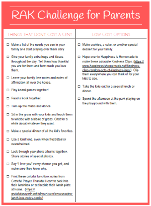 Random Acts of Kindness Challenge for Parents at LifeInTheNerddom.com
